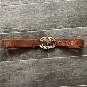 CAbi Brown Leather Laurel Leaf Belt